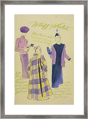 Illustration Of Three Models Wearing Violet Framed Print by R.S. Grafstrom