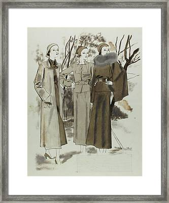 Illustration Of Three Women In A Park Framed Print by Pierre Mourgue
