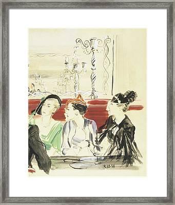 Illustration Of Three Women Wearing Designer Hats Framed Print by Rene Bouet-Willaumez