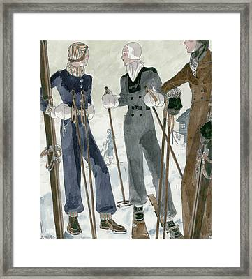 Illustration Of Three Women Wearing Ski Suits Framed Print