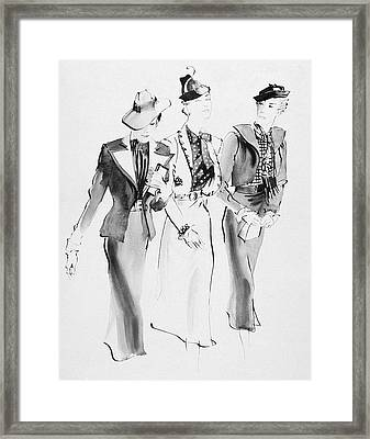 Illustration Of Three Women Wearing Skirt Suit Framed Print by Ren? Bou?t-Willaumez