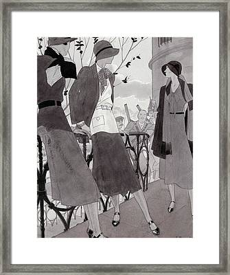 Illustration Of Three Women Wearing Stylish Suits Framed Print by Jean Pages