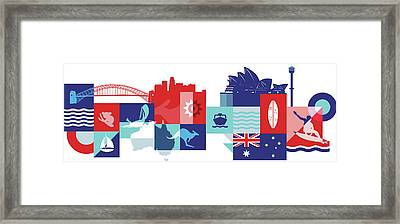 Illustration Of Tourist Attractions In Australia Framed Print by Fanatic Studio / Science Photo Library