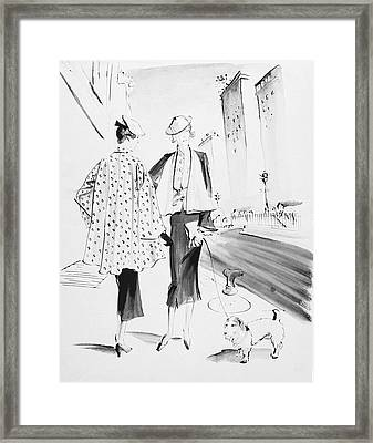 Illustration Of Two Fashionable Women Framed Print
