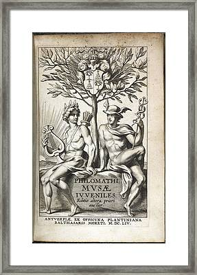 Illustration Of Two Men Under A Tree Framed Print by British Library