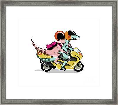 Illustration Of Two Raptors Riding Framed Print by Stocktrek Images