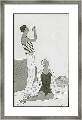 Illustration Of Two Women At A Beach Framed Print by Polly Tigue Francis