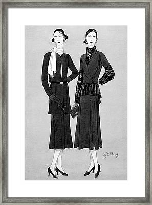 Illustration Of Two Women In Lavin Suits Framed Print