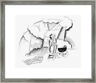 Illustration Of Two Women Framed Print