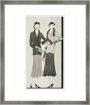 Illustration Of Two Women Modeling Suits Framed Print