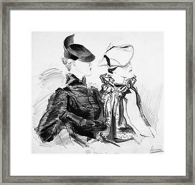 Illustration Of Two Women Wearing Berets And Capes Framed Print