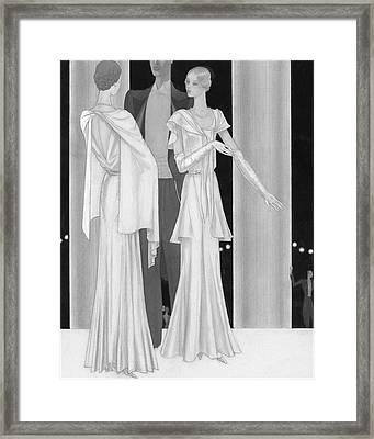 Illustration Of Two Women Wearing Evening Dresses Framed Print by Georges Lepape