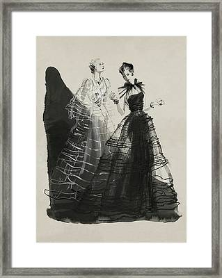 Illustration Of Two Women Wearing Evening Gowns Framed Print