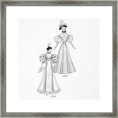 Illustration Of Two Women Wearing Fashion Framed Print by Claire Avery