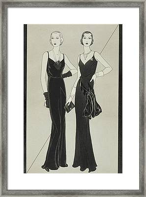 Illustration Of Two Women Wearing Mainbocher Framed Print