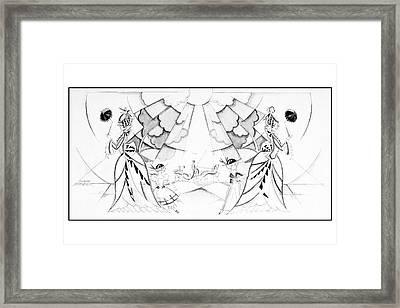Illustration Of Two Women With Children Framed Print