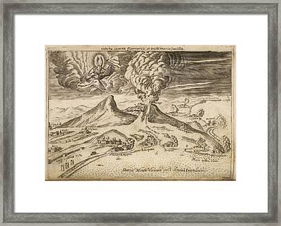 Illustration Of Volcanoes Erupting Framed Print