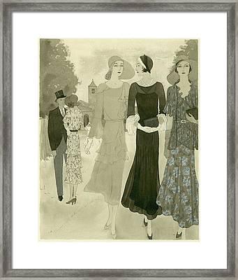Illustration Of Wedding Guests At A Country Framed Print by Barbara E. Schwinn