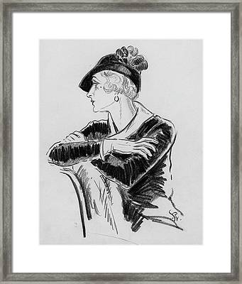 Illustration Of Woman Wearing Franklin Simon Hat Framed Print by Porter Woodruff