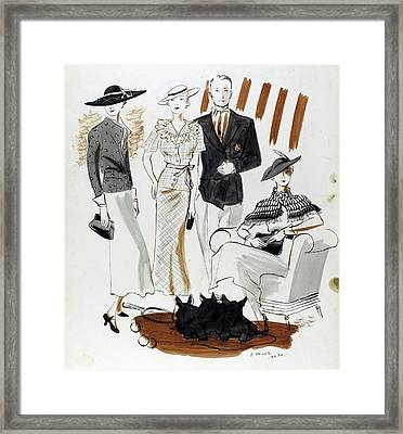 Illustration Of Women And A Man In Country Club Framed Print