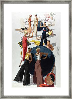 Illustration Of Women At A Crowded Beach Framed Print