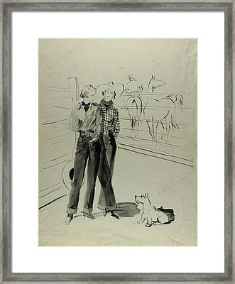 Illustration Of Women At A Ranch Framed Print by Rene Bouet-Willaumez