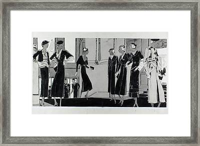 Illustration Of Women In A Building Lobby Framed Print by Jean Pages