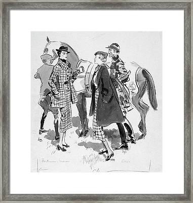 Illustration Of Women Standing In Front Of Racing Framed Print