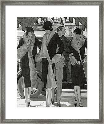 Illustration Of Women Wearing Coats Framed Print by Pierre Mourgue