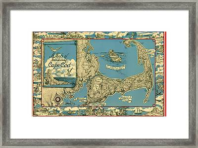 Illustrative Map Of Cape Cod 1945 Framed Print by Mountain Dreams