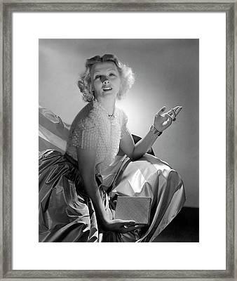Ilona Massey Wearing A Dress Framed Print by Horst P. Horst