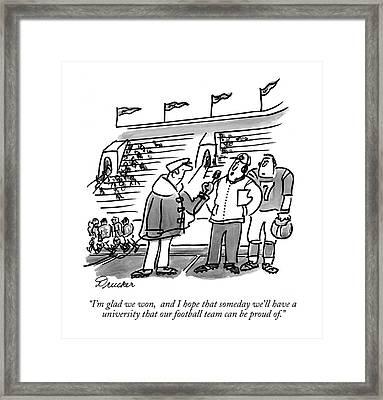 I'm Glad We Won Framed Print by Boris Drucker
