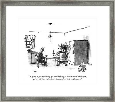 I'm Going To Get My Old Dog Framed Print by George Booth