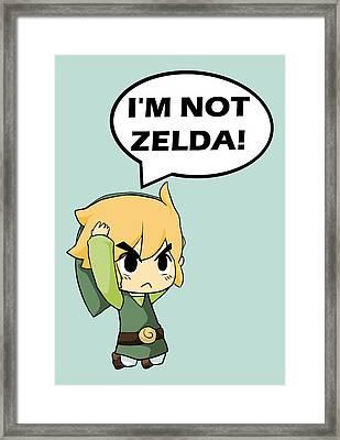 I'm Not Zelda Framed Print by Danilo Caro