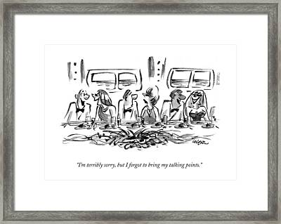 I'm Terribly Sorry Framed Print by Lee Lorenz