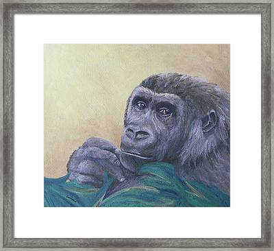 Framed Print featuring the painting I'm Watching You by Margaret Saheed