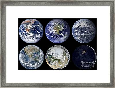 Image Comparison Of Iconic Views Framed Print by Stocktrek Images