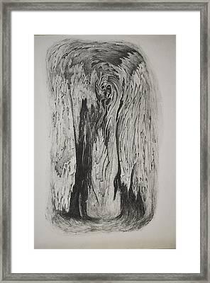 Image Of Face In Wood Bark Framed Print by Glenn Calloway