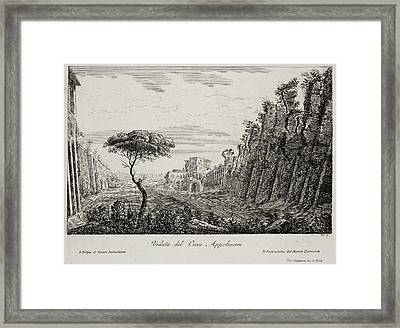 Image Of Italian Countryside Around Rome. Framed Print by British Library