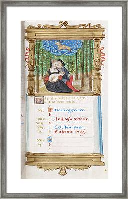 Image Of Lovers Playing The Lute Together Framed Print by British Library