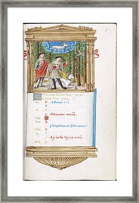 Image Of Men Hunting With Dog Framed Print by British Library