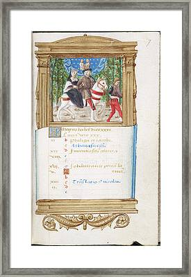 Image Of Noble Lovers Riding On Horseback Framed Print by British Library