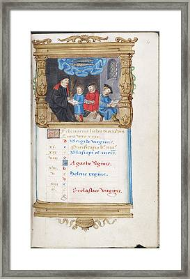 Image Of Scholar And Pupils Framed Print by British Library