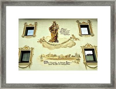 Image Of Virgin Mary With Child At Home In Austrian Tyrol Framed Print by Elzbieta Fazel
