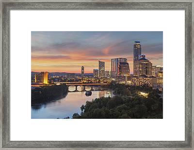 The Austin Skyline On A Summer Evening 1 Framed Print