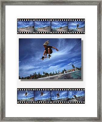 Images Of Skateboarder Getting Big Air Framed Print by Corey Hochachka