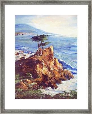 Framed Print featuring the painting Imaginary Cypress by Eric  Schiabor
