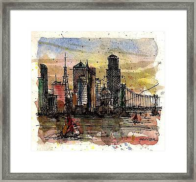 Framed Print featuring the mixed media Imaginary Skyline by Tim Oliver
