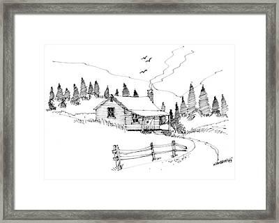 Imagination 1993 - Mountain Cabin Framed Print
