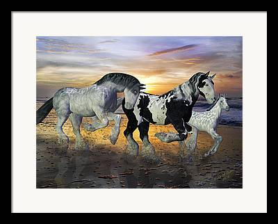 Horse Drawing Mixed Media Framed Prints
